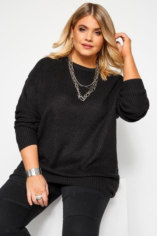 Black Chunky Knitted Jumper | Yours Clothing