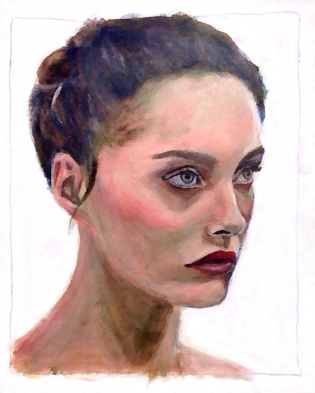 Beautiful facial expression of Estonian fashion model Karmen Pedaru, acrylic on paper 40x50