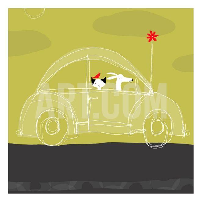 Dog, Cat, Bird in Car Print at Art.co.uk Decorative art