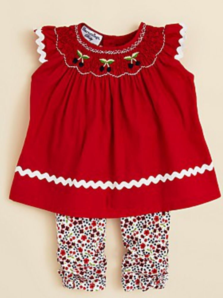 New Baby Girl Hartstrings Smocked Red Cherry Float Top Pants Set 6 9 12 Months Ebay Girl Outfits Top Pants Set New Baby Girls