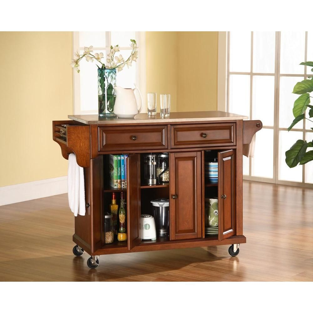 Crosley Full Size Cherry Kitchen Cart with Stainless Top ...