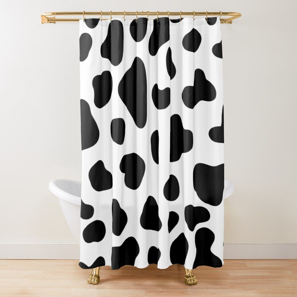 Cute Cow Pattern Black And White Shower Curtain By Trajeado14 In