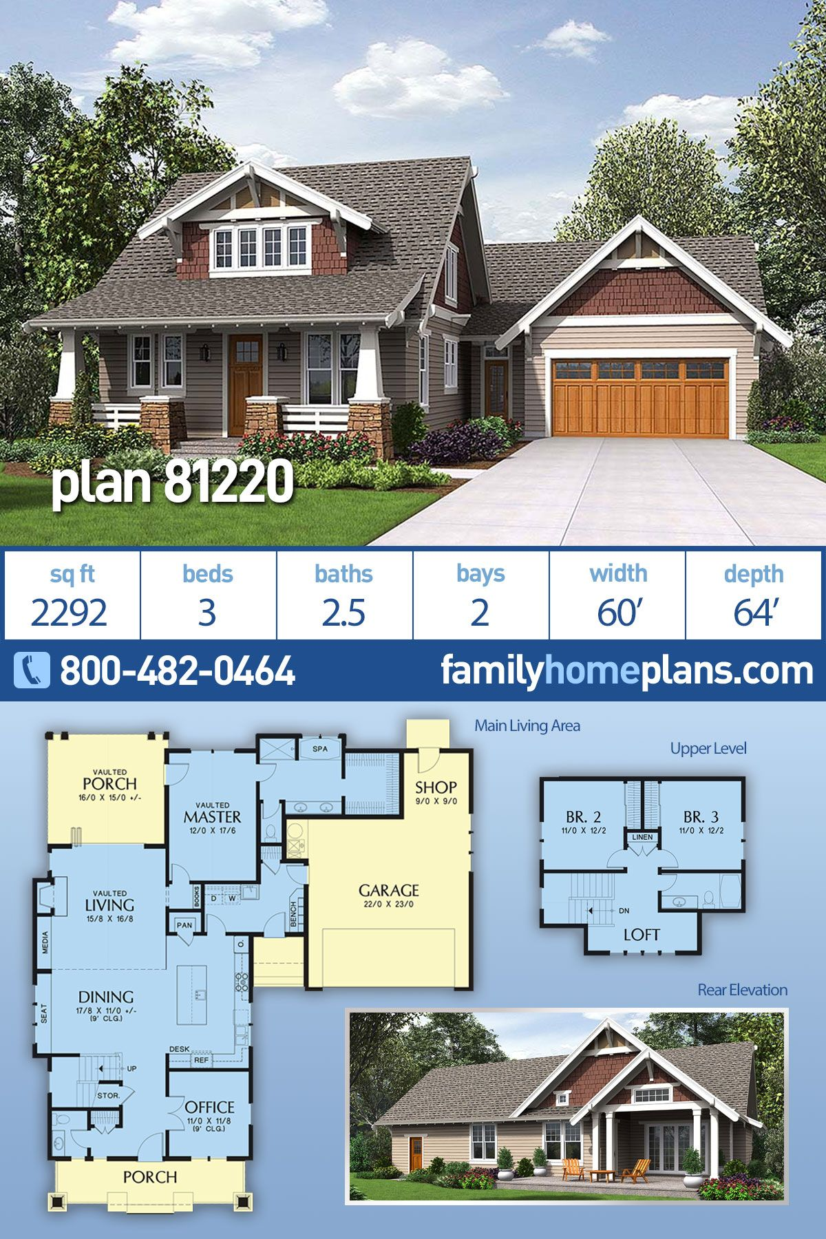 Traditional Style House Plan 81220 With 3 Bed 3 Bath 2 Car Garage Cottage Floor Plans Craftsman Bungalows House Plans