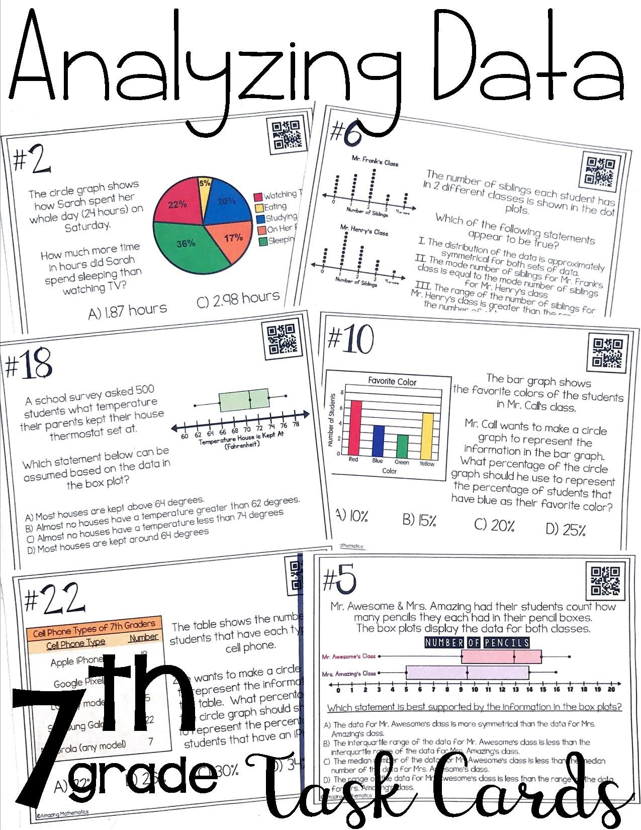 Worksheets Box And Whisker Plots Worksheets these data analysis task cards were perfect for my 7th grade math i love how the students have to analyze and compare shown on circle graphs bar tables box whisker