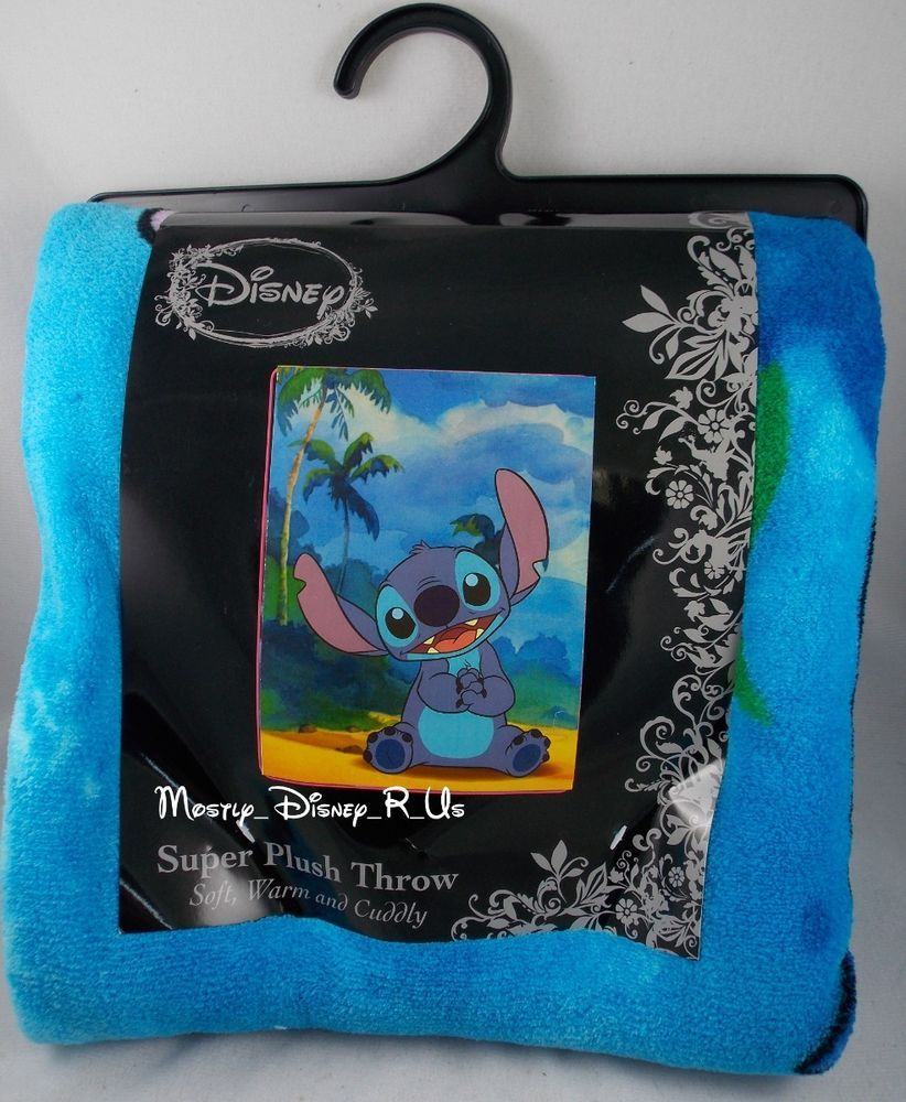 Lilo And Stitch Floral Extraterrestrial Space Disney Plush Fleece Throw Blanket
