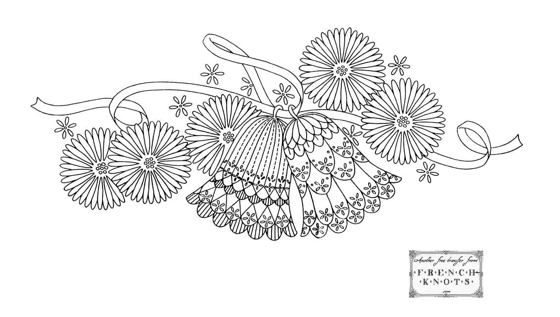 Free Vintage Wedding Bells And Violets Embroidery Transfer Patterns