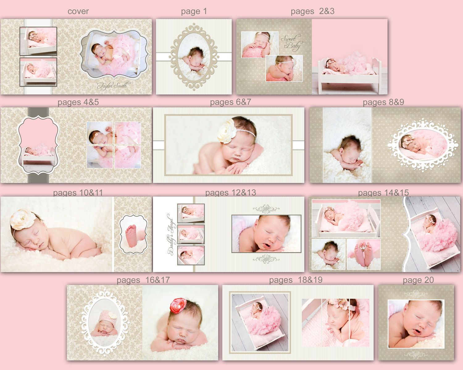 Baby Photo Book Cover Template for Photographers, Baby Album ...