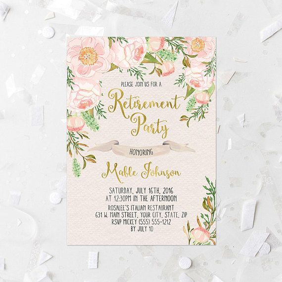 Pink Floral Retirement Party Invitation Printable Pink Digital - invitation templates for farewell party