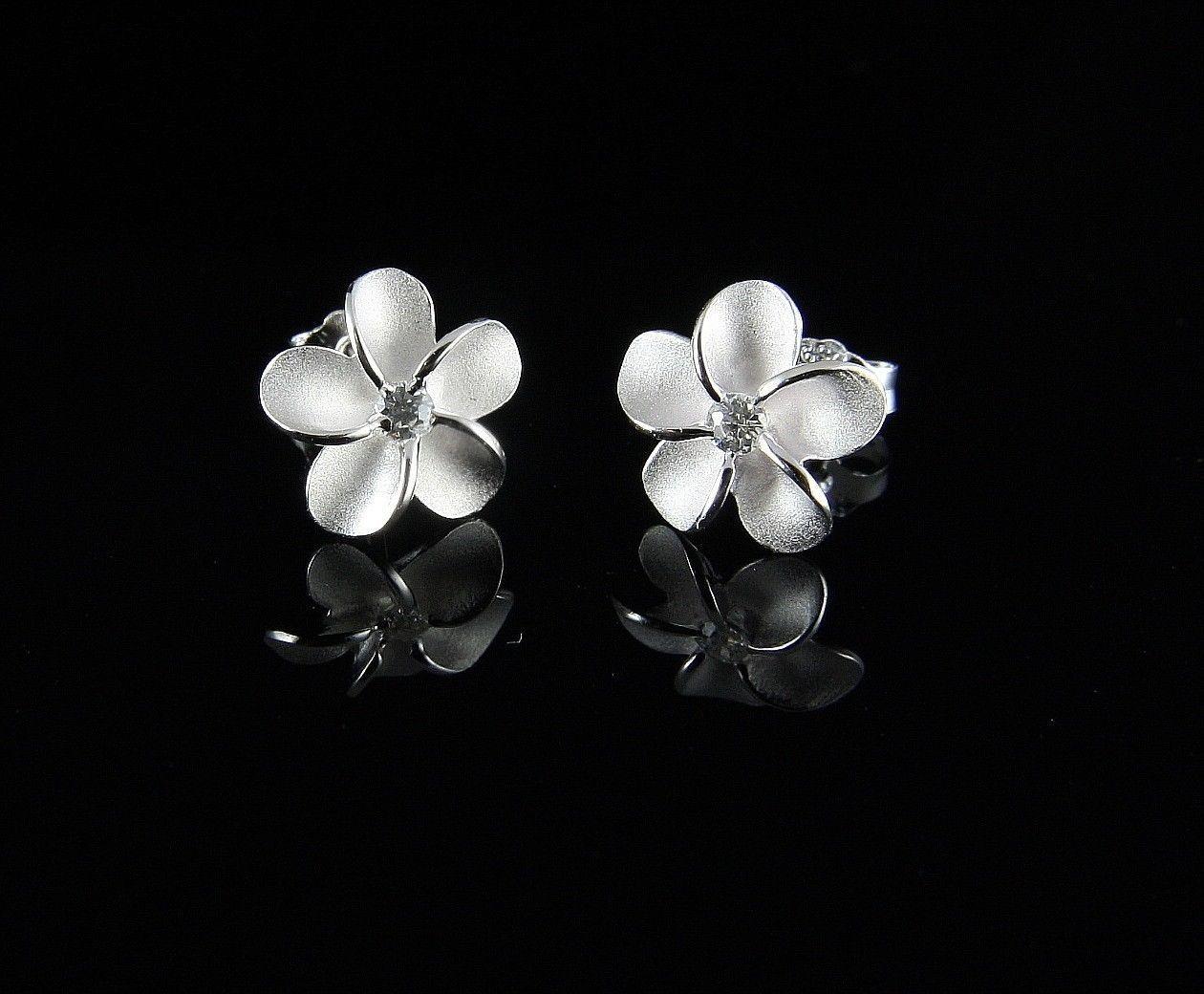 Sterling Silver 925 Hawaiian Plumeria Flower Stud Earrings 10mm