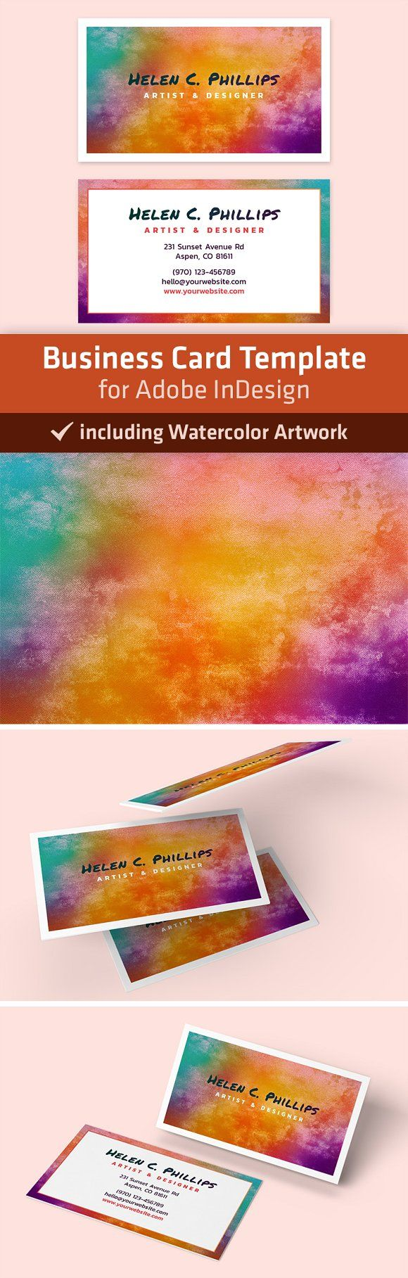 Beautiful watercolor business card template for adobe indesign beautiful watercolor business card template for adobe indesign artwork included download on creativemarket free printable reheart Gallery