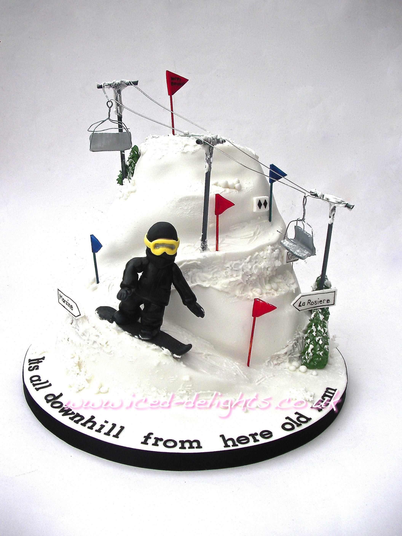 Snowboarding Cake Ski Lift Designed by Iced-Delights.co.uk