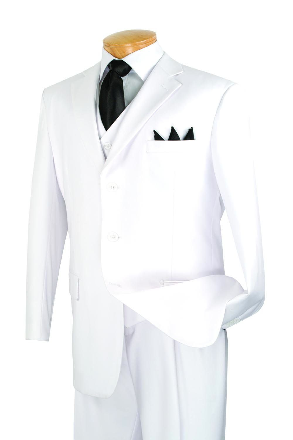 New Mens 3 Button Single Breasted White Dress Suit