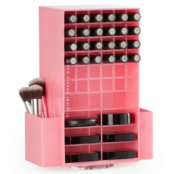 Girar el lápiz labial rosado / compacto organizador