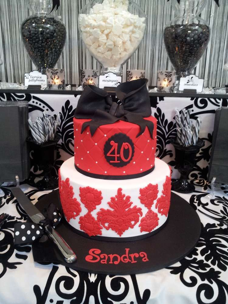 Black And White With A Touch Of Red Lolly Buffet Birthday Party