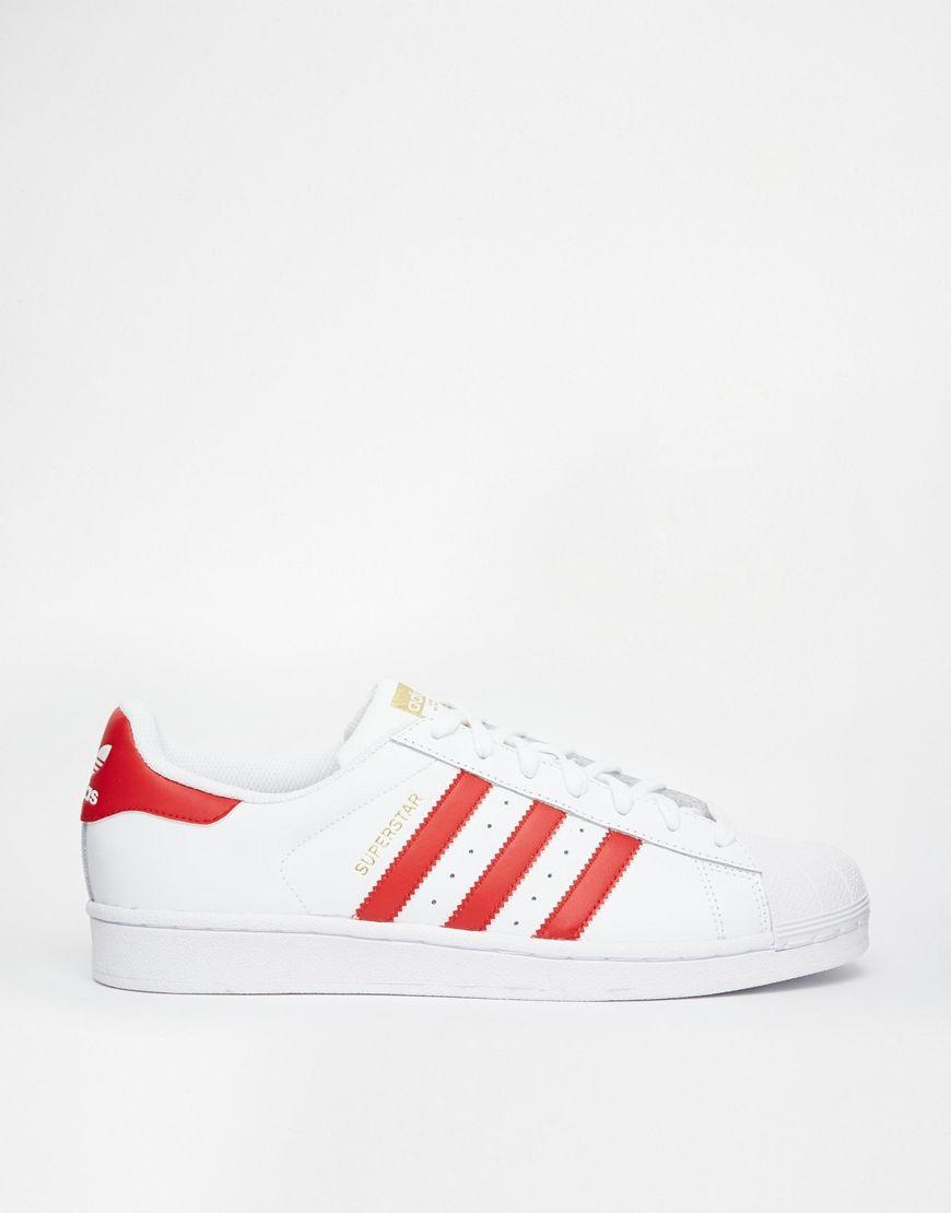 buy popular 34d75 a0d0f Imagen 1 de Zapatillas de deporte en blanco y rojo Superstar Foundation de adidas  Originals