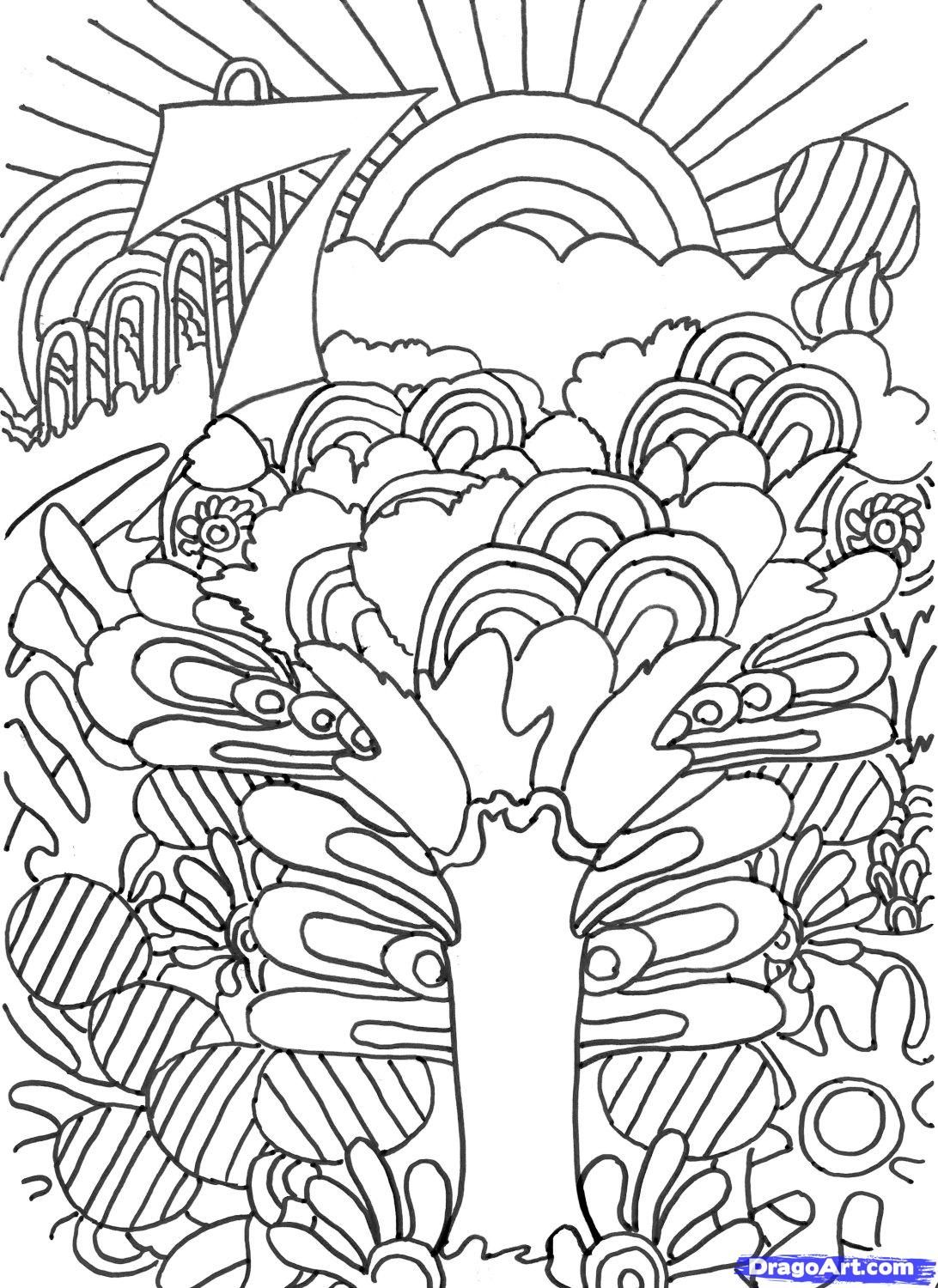 colouring pages - Psychedelic Hippie Coloring Pages