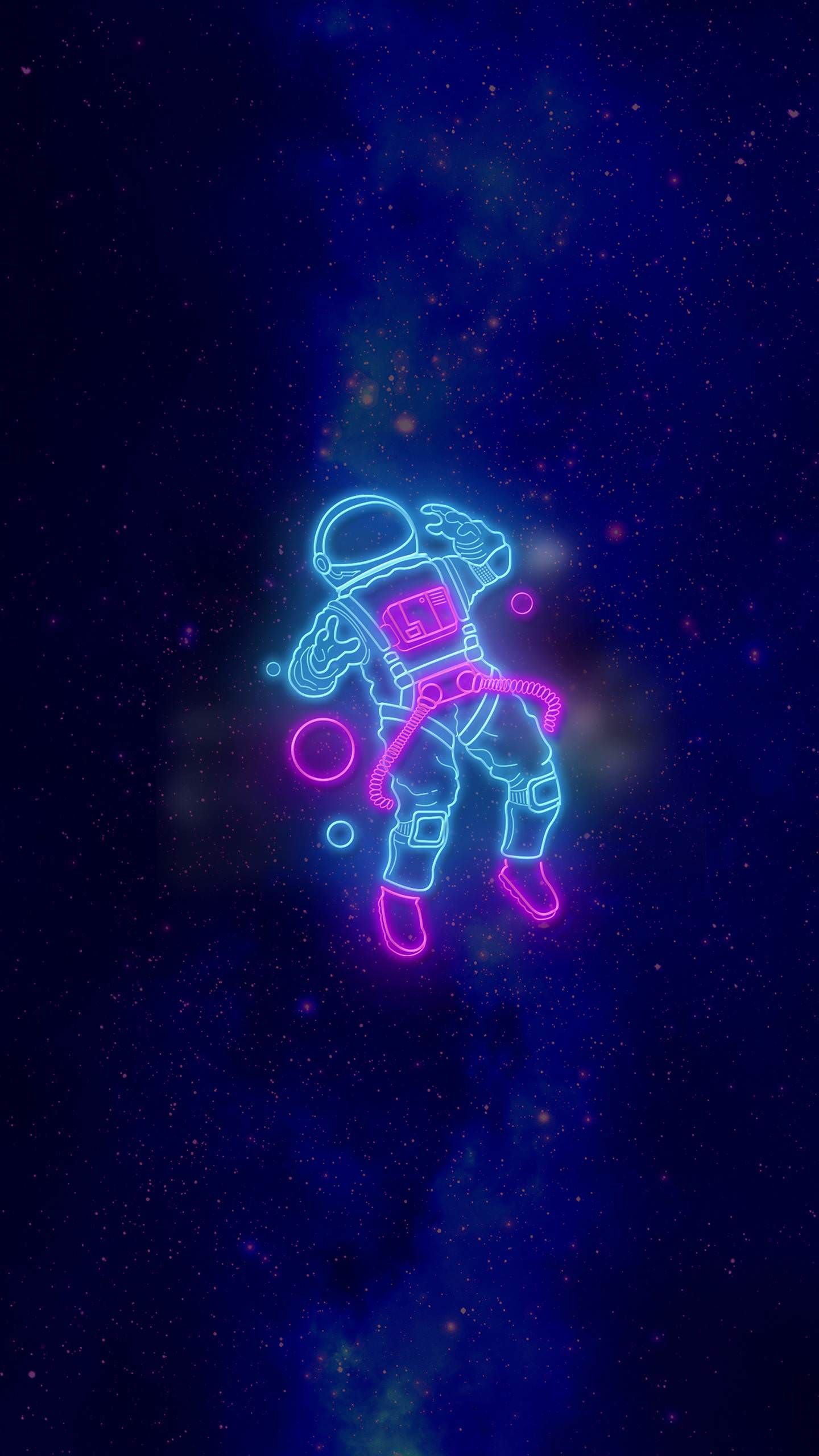 Neon astronaut beautiful wallpaper wallpaper iphone for Sfondi spazio hd