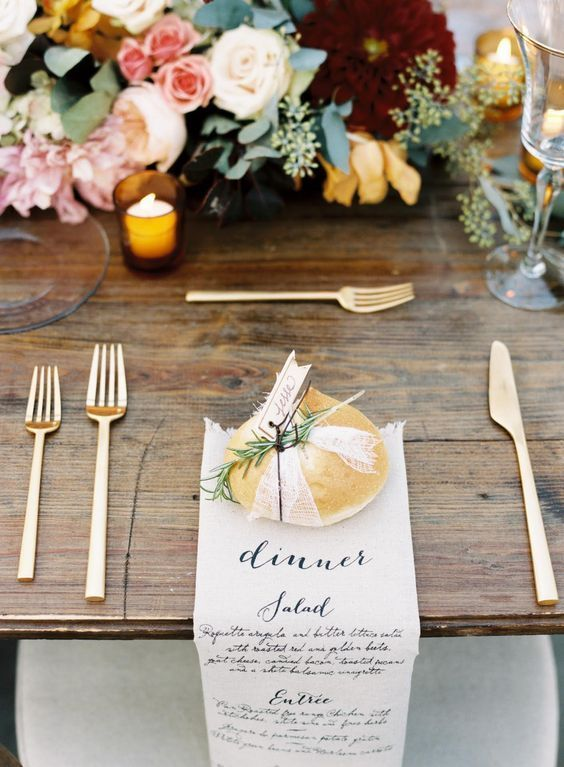 Rustic Wooden Table Gold Cutlery And Romantic Blooms Tabletop
