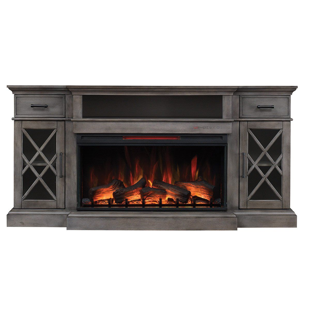 70 Inch Weathered Gray Fireplace TV Stand Hamilton