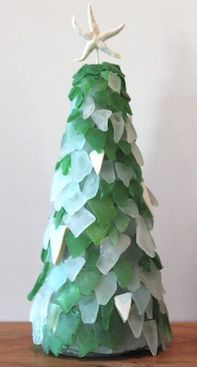 Sea Glass Christmas Tree - Styrofoam cone, sea glass, handy dandy ...