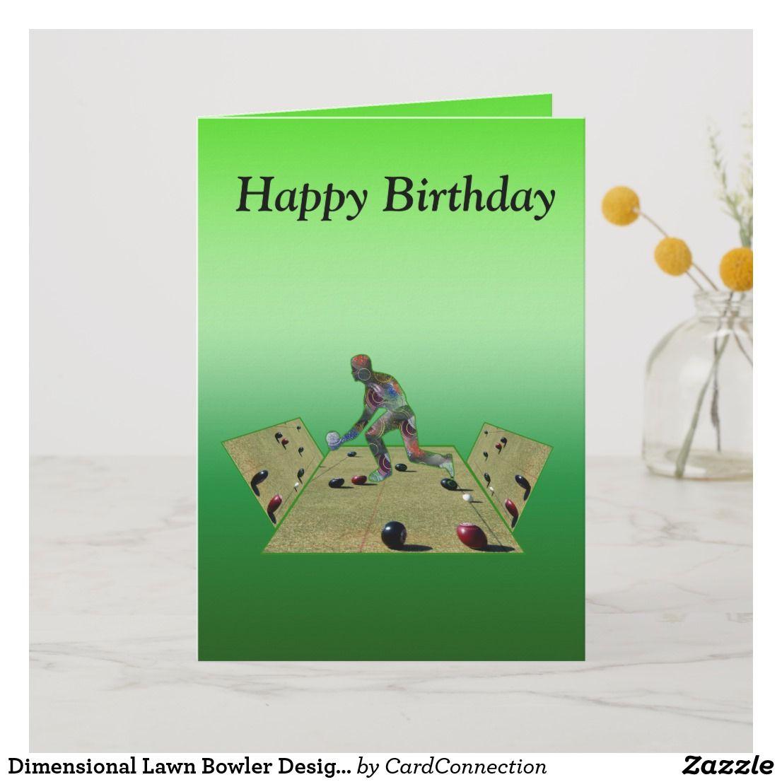 Dimensional Lawn Bowler Design Birthday Card Card Zazzle Com Au Birthday Cards Personalised Blankets Bowl Designs