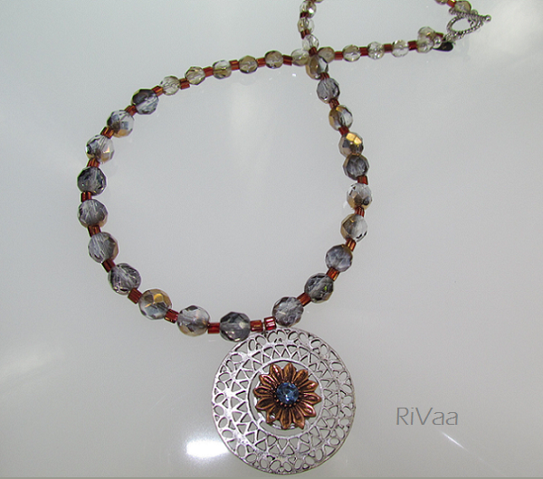Crystal Gold Czech Beads and Copper Miyuki Beads with Vintage Pendant Necklace