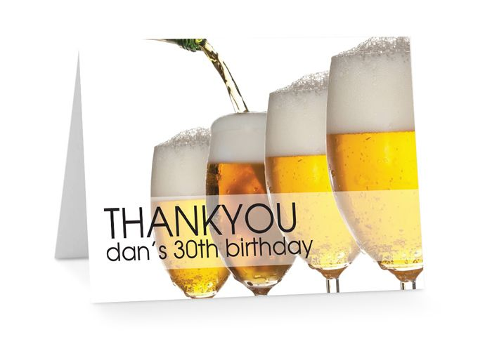 From 125 each Folding Beer Thank You Cards from Paper Divas