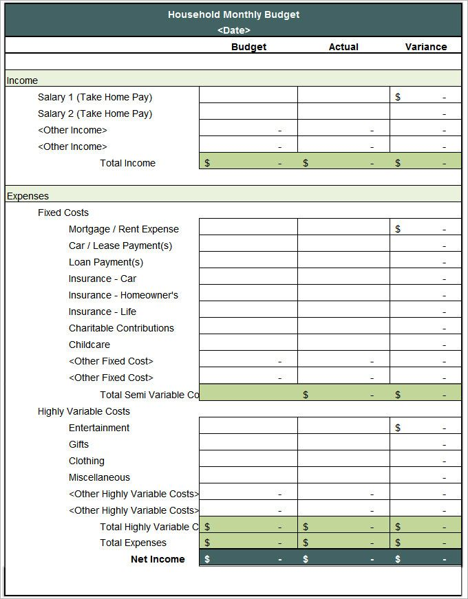 simple home budget template