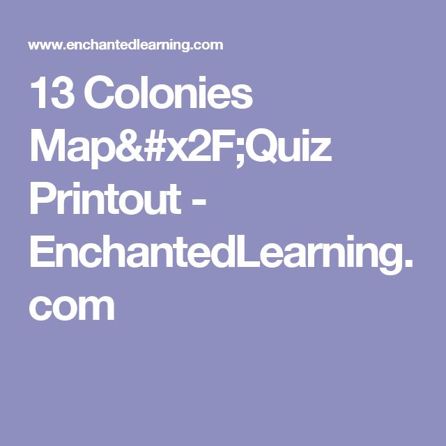 Colonies MapQuiz Printout EnchantedLearningcom - 13 colonies quiz
