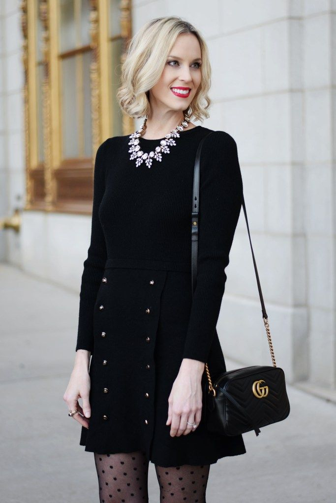 cdeaa96d7e338 black sweater dress with gold buttons, statement crystal necklace, polka  dot tights, gucci marmont bag, black and gold outfit, holiday outfit idea # holiday ...