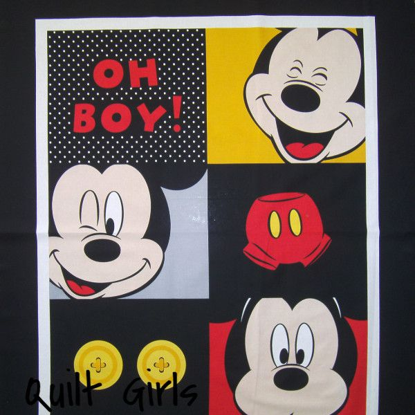 """2 Mickey Mouse Football Mickey Mouse Disney Cut /& Sew 17"""" X 45"""" Fabric Panel"""
