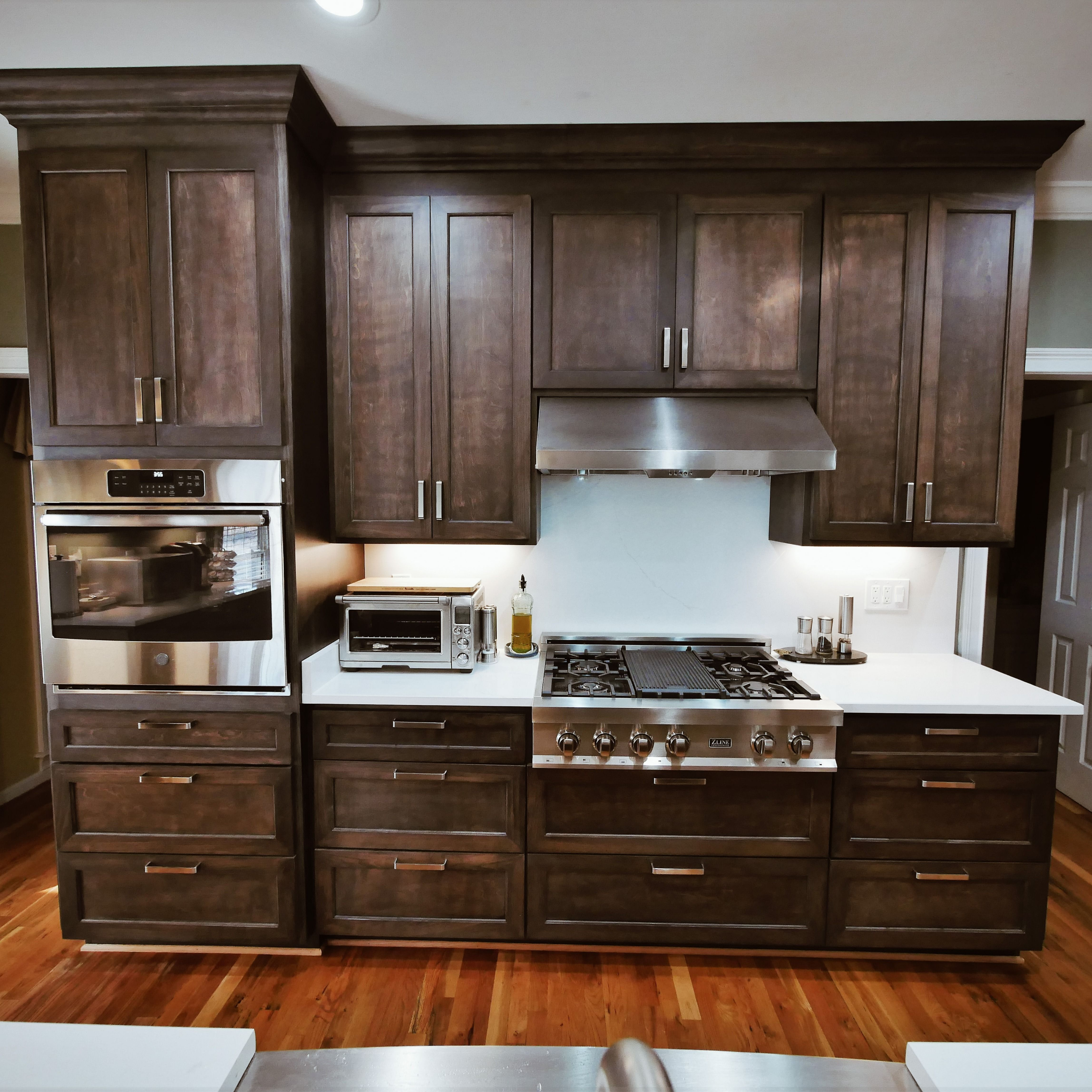 Stain color: Dark Walnut. Our cabinets are 100% customized ...