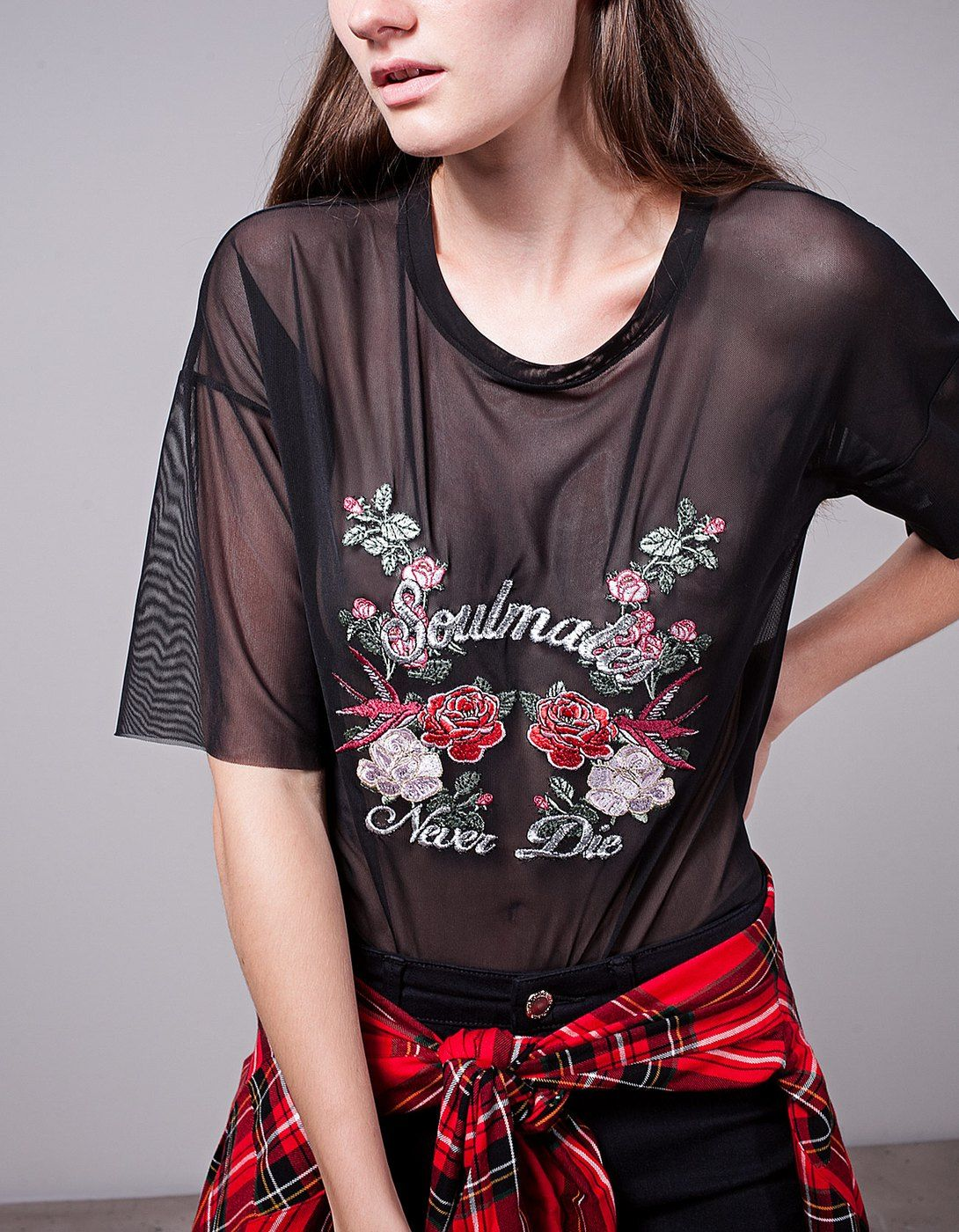 0d810bc6ea Embroidered tulle top