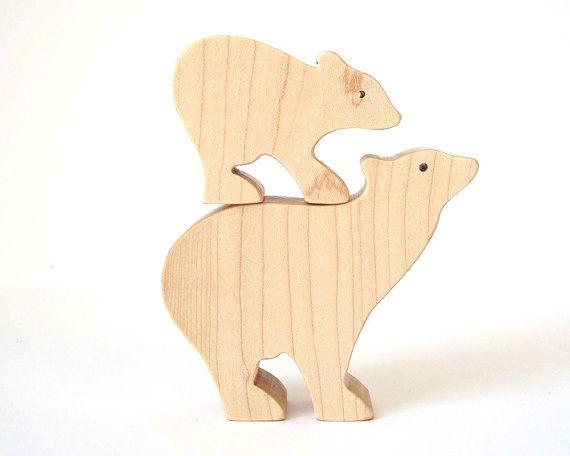 3D Wooden Polar Bear Family Puzzle