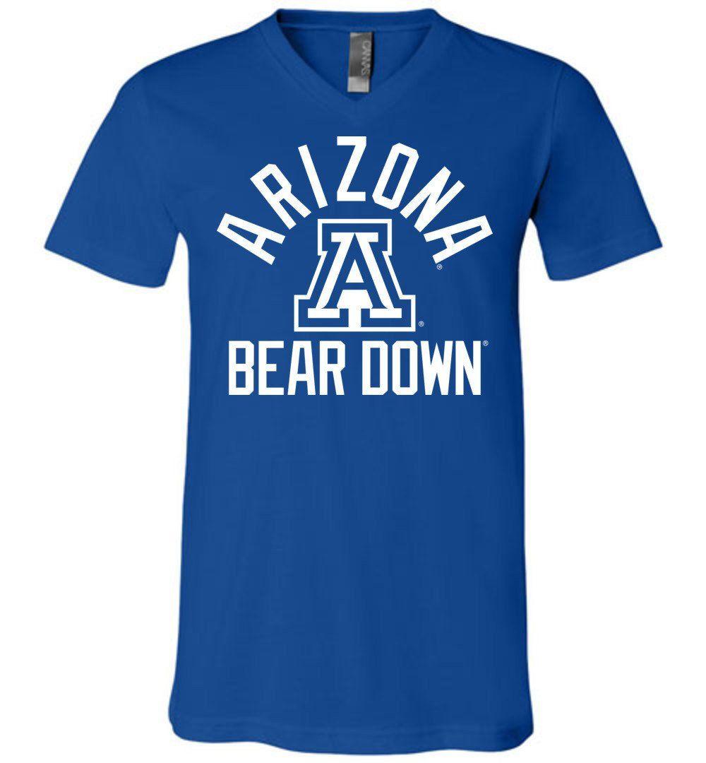Official NCAA Venley University of Arizona Wildcats U of A Wilber Wildcat BEAR DOWN! Unisex V-Neck T-Shirt - 08ua-1