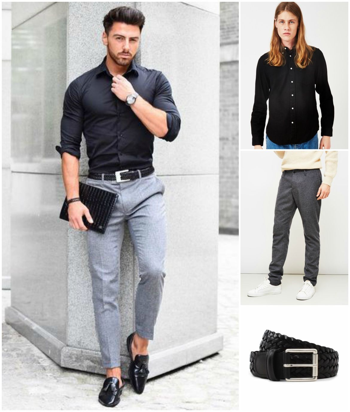 what to wear with a black shirt  formal men outfit