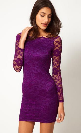 Long Sleeve Plus Size Purple Mini Dress XL-6XL | Plus Size Clothing ...