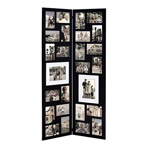 Adeco Decorative Black Wood Folding Floor-Standing Collage Picture ...