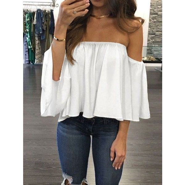 152bcb2ea5688f Off The Shoulder Chiffon Ruched Blouse ($8.59) ❤ liked on Polyvore  featuring tops, blouses, off shoulder tops, off shoulder shirt, white off  the shoulder ...