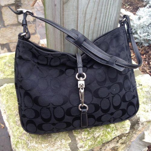 10e8d84b6a21 #MK #MickaelKors windowpub.com Coach Handbag 6091 Black Canvas Signature  Hampton Clip Hobo Handbag AS IS #MK #MickaelKors windowpub.com