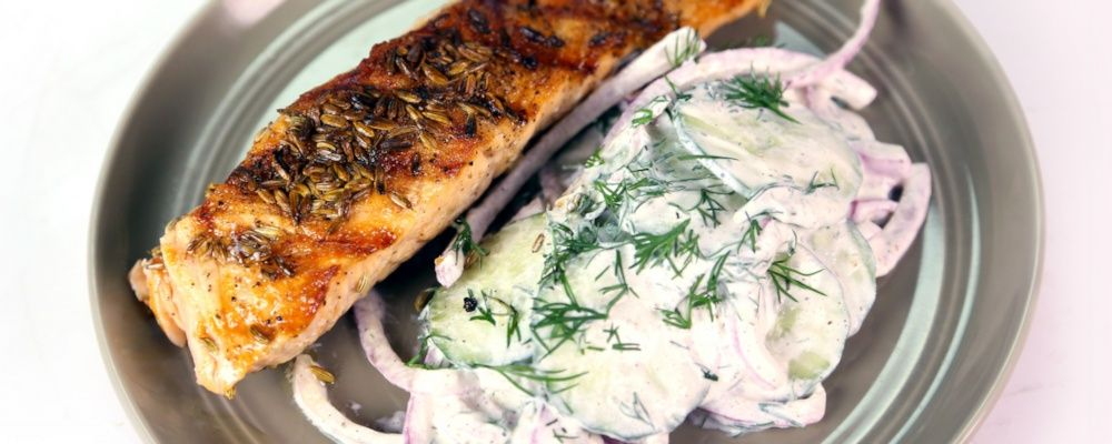 Grilled Salmon with Shaved Cucumbers and Dill Recipe by Michael Symon - The Chew
