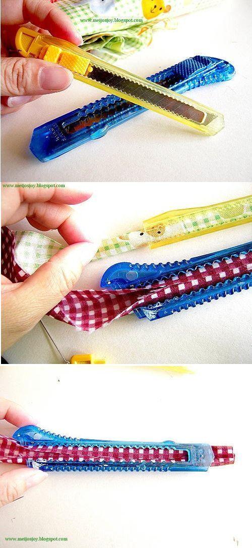 dobrador de viés feito com um estilete: