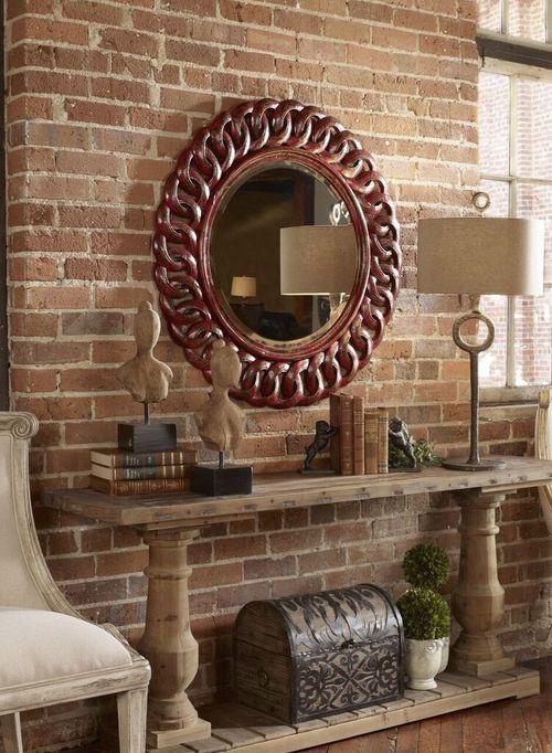 Sassia Red Round Mirror Coastal Farmhouse Round