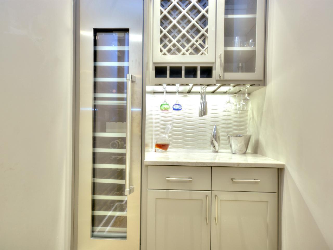 Contemporary Wet Bar With Tall Wine Refrigerator Wet Bar Tall Wine Fridge Kitchen Cabinet Wine Rack