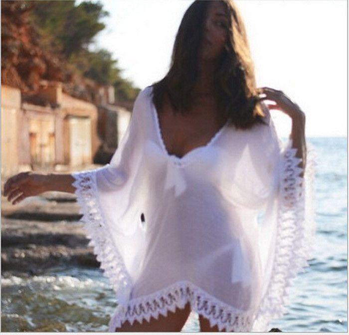 88734b7204 Womens Swimwear Beachwear Bikini Beach Wear Cover Up Kaftan Ladies Summer  Chiffon Lace Dress