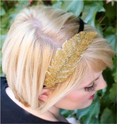 Gold Ethereal Beaded Leaf Headband. $28.00, via Etsy.