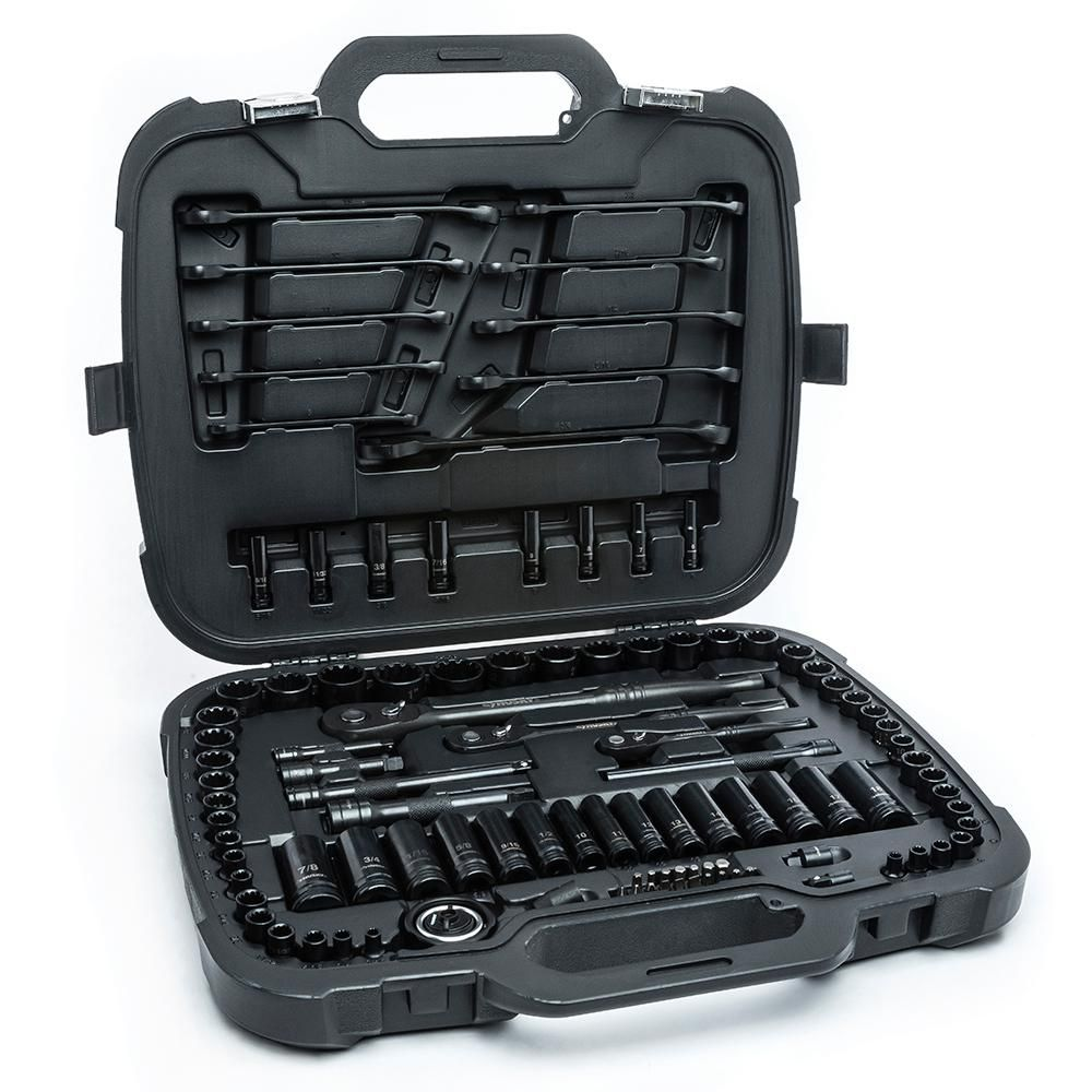 Husky 1 4 In 3 8 In And 1 2 In Drive 100 Position Universal Sae And Metric Mechanics Tool Set 105 Piece H100105mts Mechanic Tools Tool Set Socket Set