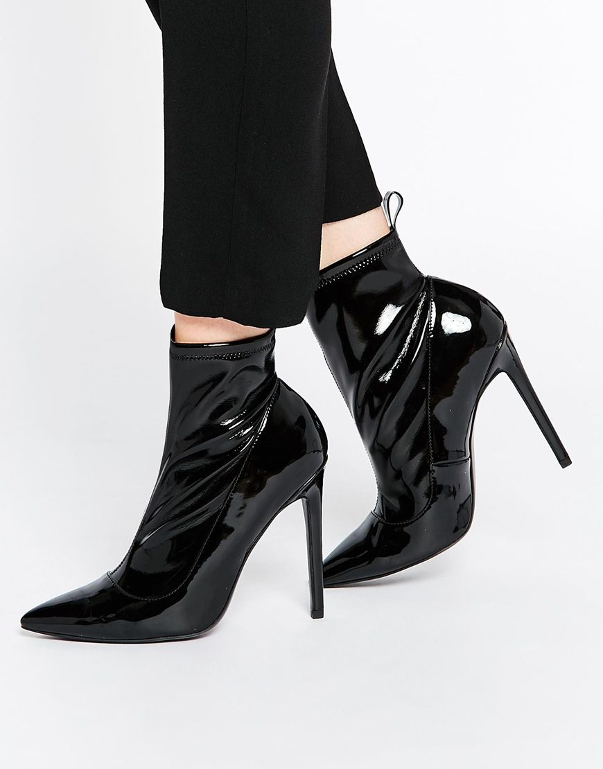 High heel · ASOS ENVISION Pointed Sock Boots