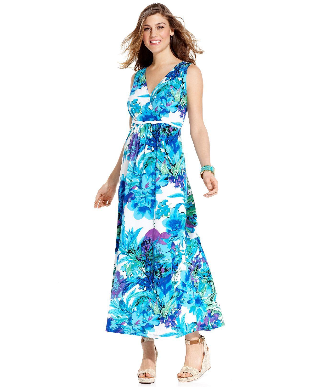 Elementz dress sleeveless floralprint aline maxi