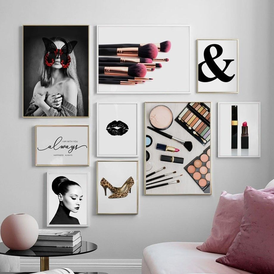 Ampersand Fashion Girl Butterfly Makeup Wall Art Canvas Painting Nordic Posters And Prints Wall Pict In 2020 Makeup Wall Art Wall Art Canvas Painting Makeup Room Decor